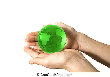 värld, i handen