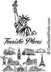 värld, illustration, ställen, touristic
