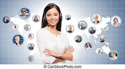 värld, internationell, center., karta, arbete, concept., tillitsfull, vacker, kund, ung, centrera, stöd, ringa, operatör, bakgrund.