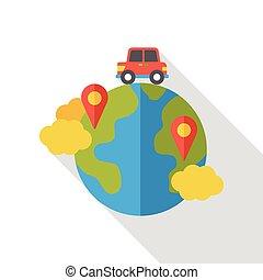 värld,  Internet, lokalisering, lägenhet, ikon