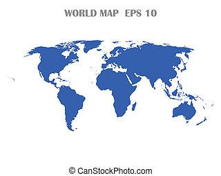 värld, isolerat, karta