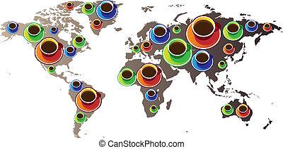värld, kaffe, karta