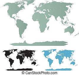 värld, kollektion, kartera