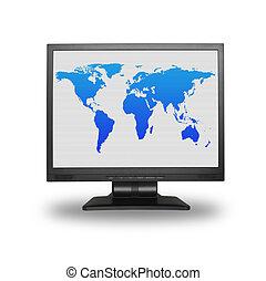värld, lcd, avskärma, karta