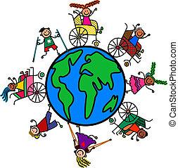 värld, lurar, handikapp