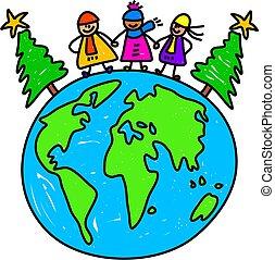 värld, lurar, jul