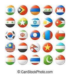 värld, märken, flaggan, runda, magneter