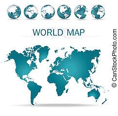värld, map., vektor, illustration.