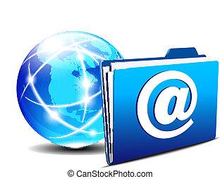 värld, mapp,  email,  Internet
