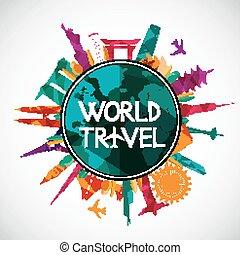 värld, milstolpar, resa