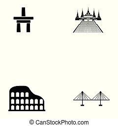 värld, milstolpar, sätta, ikon