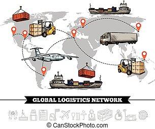 värld, nätverk, logistisk, mall