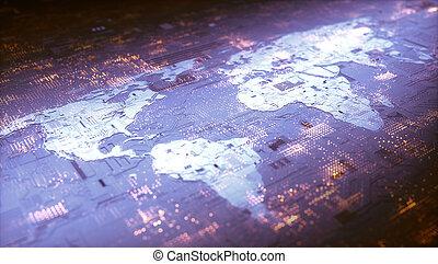 värld, nätverksarbetande, digital