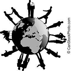 värld, omkring, affär