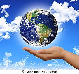 värld, på, den, hand
