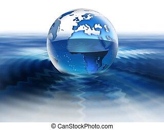 värld, på, vatten
