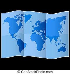 värld, papper, hoplagd, karta