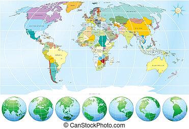 värld, politisk, karta