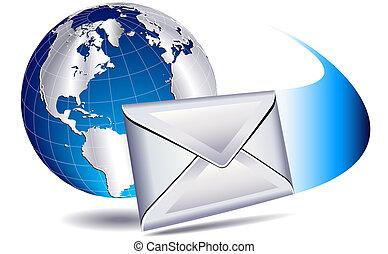 värld, postande, email