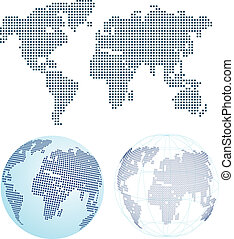 värld, punkterat, karta