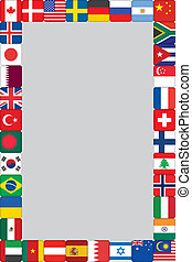 värld, ram, flaggan, ikonen