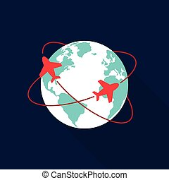 värld res, begrepp, ikon, lägenhet, design
