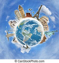värld res, begrepp, minnesmärkena