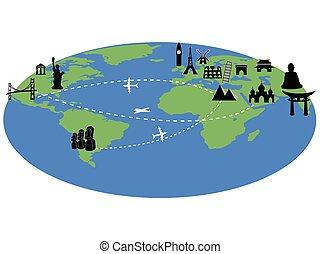 värld res, omkring, bakgrund, milstolpar