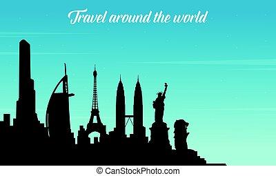 värld res, resa, kollektion