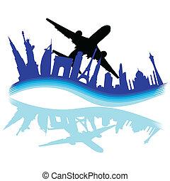 värld res, städer, olika, genom