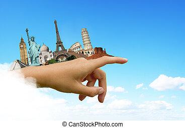 värld, resa, begrepp, minnesmärkena
