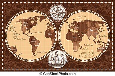 värld, retro, karta