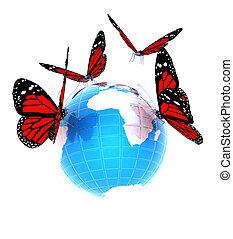 värld sammandrag, blå, fjäril, röd