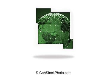 värld sammandrag, grön, avskärma