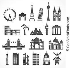 värld, silhouettes, signts, abstrakt, berömd
