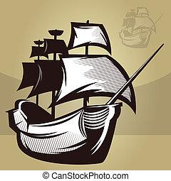 värld, skepp, gammal