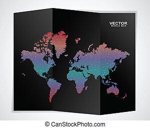 värld, svart, karta