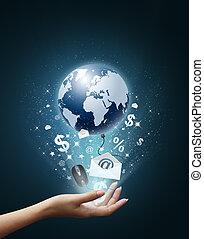 värld, teknologi, min, hand