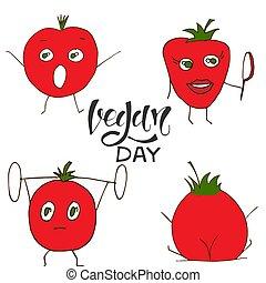 värld, tomato., dag, vektor, vegan, sätta, illustration