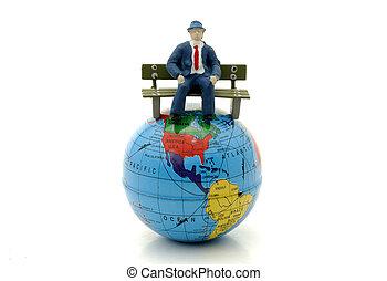 värld, topp, sittande