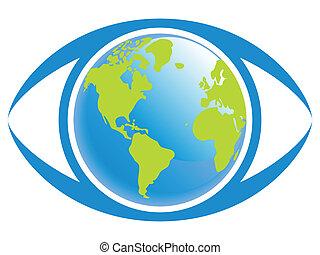 värld, utsikt., ögon