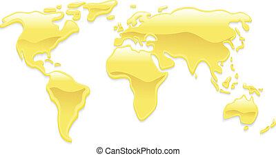 värld, vätske guld, karta