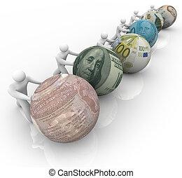 värld valutor, in, lopp, för, tillväxt