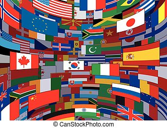värld, vektor, flaggan, bakgrund., bakgrund