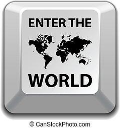 värld, vektor, nyckel, komma in
