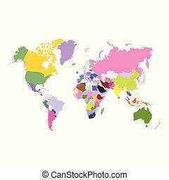 värld, vektor, politisk, karta