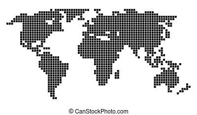 värld, vit fond, karta
