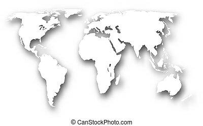 värld, vit, karta