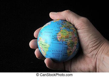 världen, in, din, hand