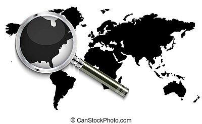 världen kartlägger, förstoringsglas, under
